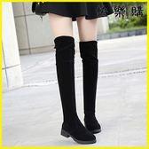 膝上靴-過膝靴粗跟顯瘦過膝長靴絨面瘦腿低跟長筒靴子