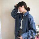 熱賣垂感襯衫 春季疊穿內搭垂感牛仔棉藍色豎條紋翻領襯衫女外套上衣寬鬆BF襯衣 coco