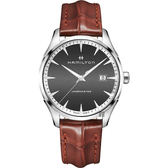 Hamilton 漢米爾頓 Jazzmaster 品味紳士經典石英手錶-灰x咖啡/40mm H32451581