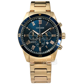 CITIZEN 星辰表 / AN8169-58L / 羅馬刻度 三眼計時 日期 夜光指針 不鏽鋼手錶 藍x鍍香檳金 44mm
