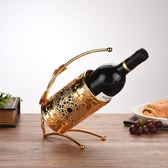 客廳擺件歐式現代簡約客廳紅酒架擺件家居裝飾葡萄酒架子創意鐵藝酒柜擺設【好康八折】