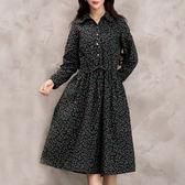 【GZ73】實拍 秋季 2018 新款 中長款 長袖 棉麻 印花 洋裝 小翠花 複古 抽繩腰