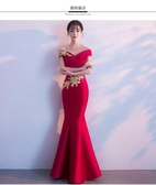 氣質 洋裝晚禮服女新款新娘結婚敬酒服長款宴會年會主持人魚尾中式禮服【星時代生活館】