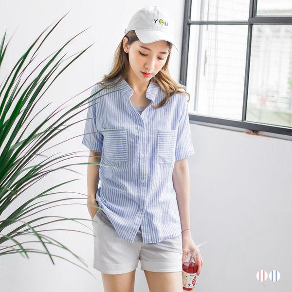 OB嚴選《AB2635-》高棉量配色直條紋立領雙口袋設計五分袖寬鬆襯衫.2色--適 S~L