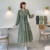 LULUS【A02210176】E斑紋縮腰雪紡長袖洋裝3色