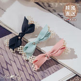 髮飾 韓國直送緞帶蝴蝶結珍珠水鑽髮夾-Ruby s 露比午茶