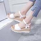坡跟涼鞋 女鞋坡跟涼鞋新款夏季韓版百搭網紅鬆糕厚底中跟學生羅馬涼鞋
