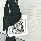 帆布包 復古小眾希臘字母插畫帆布包韓版百搭單肩男女學生書包手提袋ins 交換禮物