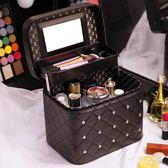 化妝包女士大容量雙層多功能便攜大號護膚品收納盒手提化妝箱 nm3948 【Pink中大尺碼】