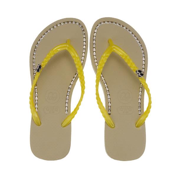 QWQ創意鞋- 璀璨面鑽 施華洛世奇水鑽夾腳人字拖鞋-香檳金 (璀璨晶鑽系列 )