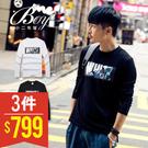 美式潮流黑白印花長袖T恤【PPK86030】