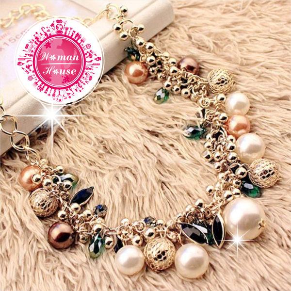 新娘項鍊-奢華貴氣彩色寶石珍珠項鍊 [50244]◇美容美髮美甲新秘專業材料◇