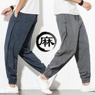 中國風男裝復古唐裝盤扣束腳長褲子男漢服條紋棉麻直筒薄款休閒褲 極簡雜貨