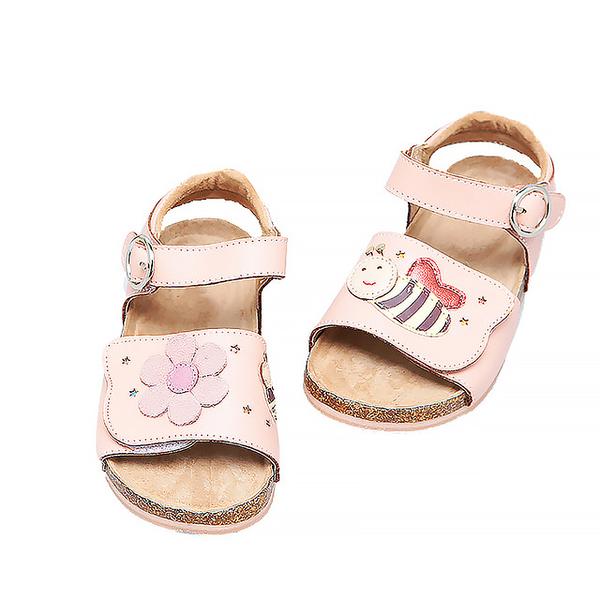 【Jingle】蜜蜂花語鞋帶版軟木涼鞋(甜美粉大人款)
