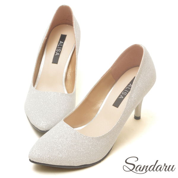 訂製鞋 金蔥閃料美型尖頭高跟鞋-銀
