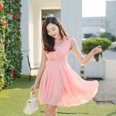 夏款很仙氣質雪紡中長款洋裝韓版修身顯瘦高腰遮肚子背心裙 錢夫人