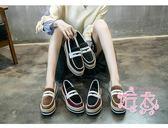 (低價促銷)小皮鞋女秋冬新品正韓百搭厚底休閒鞋復古英倫一腳蹬樂福鞋潮