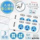 【KINYO】6呎1.8M 3P3開3插安全延長線(CW333-6)2入
