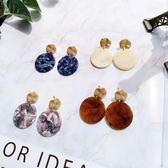 日韓簡約氣質百搭女撞色醋酸板圓形耳釘復古時尚琥珀棕色耳環
