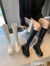 長筒靴 白色高筒靴女2021新款秋冬加絨彈力瘦瘦馬丁靴騎士中筒不過膝長靴 智慧