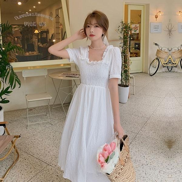 洋裝 浪漫花邊方領公主袖連身裙-媚儷香檳-【D1512】