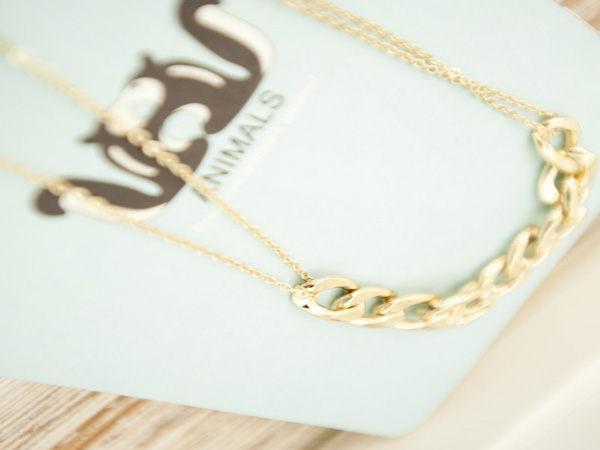 【櫻桃飾品】金色龐克鎖鏈造型項鍊   【20686】