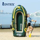 INTEX海鷹加厚兩人充氣船三人四人橡皮艇釣魚船皮劃艇 折疊沖鋒舟igo【PINKQ】