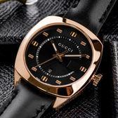GUCCI Black Dial 錶盤G字樣玫瑰金黑面真皮腕錶/37mm YA142407 熱賣中!