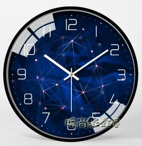 現代簡約靜音掛鐘客廳時尚臥室時鐘個性壁掛錶家用創意大氣石英鐘MBS「時尚彩紅屋」