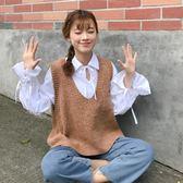 針織背心 韓版百搭寬鬆針織衫套頭短款毛衣馬甲