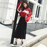 上衣半身裙中大尺碼L-4XL/9682秋冬新款套裝港味寬鬆衛衣搭配金絲絨半身裙兩件套潮F4097依品國際