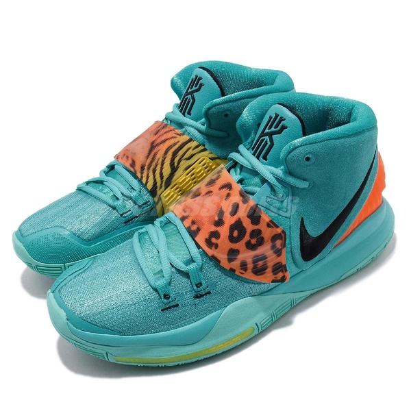 Nike 籃球鞋 Kyrie 6 EP Oracle Aqua 藍 橘 男鞋 Irving Animal 豹紋 運動鞋 【ACS】 BQ4631-300