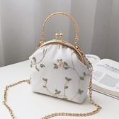 復古蕾絲口金包布藝手工立體刺繡花朵手提包配旗袍包包女士小包包 雙12