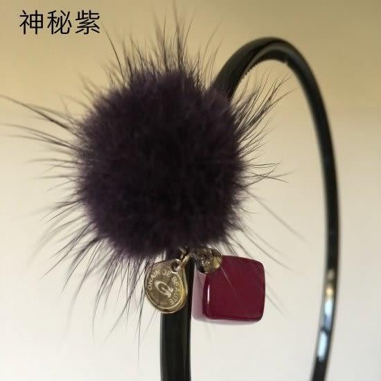 復古方塊毛球髮箍-法國知名品牌,韓星御用韓國製造