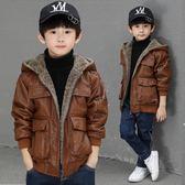 男童外套  皮衣2018新款加絨加厚外套兒童上衣秋冬季夾克