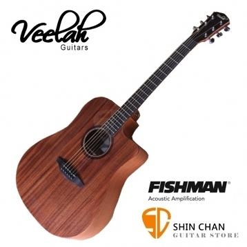 Veelah吉他 V1-DMCE 電木吉他/全桃花心木D桶身/面單板/切角/Fishman拾音器 贈原廠袋(全配件)