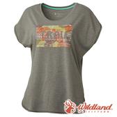【wildland 荒野】女 雙色印花抗UV時尚上衣『淺灰』0A61687 登山 抗紫外線 吸濕 排汗 印花