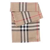 【BURBERRY】經典格紋羊毛絲綢圍巾(薄款)(經典米色) 8018468