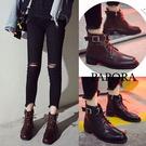 個性牛仔風短靴KYK336黑/棕PAPO...