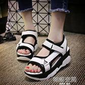 涼鞋女夏平底新款韓版百搭羅馬魔術貼學生鬆糕厚底女鞋鞋子 韓語空間