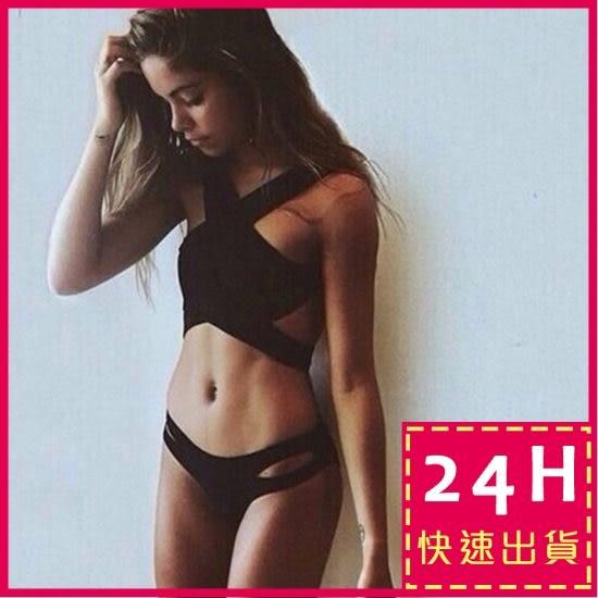 現貨★梨卡 - 二件式比基尼泳衣 - 歐美暢銷性感夏日交叉性感綁帶泳裝C656