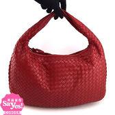 【奢華時尚】秒殺推薦!BOTTEGA VENETA 玫瑰紅色編織羊皮肩背中型和尚包(八五成新)#23313