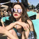 韓版同款女炫彩復古度假風沙灘開車太陽眼鏡街拍圓臉方框墨鏡   名購居家