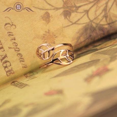 玫瑰金複古鏤空樹葉戒指女彩金鈦鋼