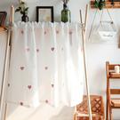 可愛時尚棉麻門簾E528  廚房半簾 咖啡簾 窗幔簾 穿杆簾 風水簾 (90cm寬*80cm高)