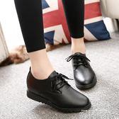 必勝客肯德基工作鞋女黑色皮鞋軟底防滑酒店中餐廳平底上班鞋大碼 依凡卡時尚