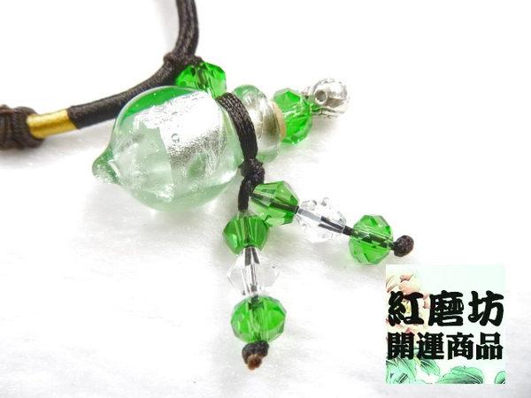 【Ruby工作坊】NO.25G綠精油雕花中國結項鍊