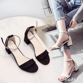 2019夏季新款粗跟大碼涼鞋女韓版百搭高跟鞋中跟一字扣 aj10203『pink領袖衣社』