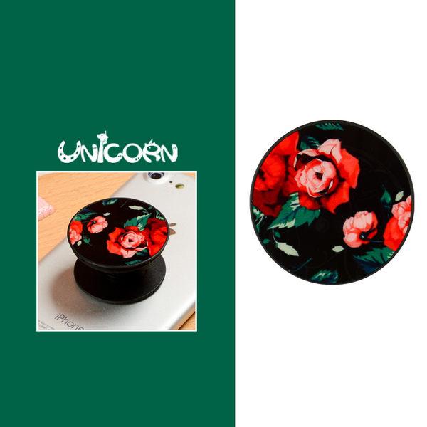 抖音專用 黑底紅玫瑰 手機伸縮支架 氣囊支架 繞線器 懶人支架 耳機收納 捲線器【Unicorn】