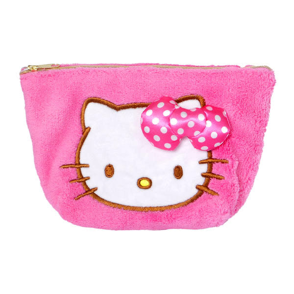 Hello Kitty化妝包 桃紅立體蝴蝶結造型絨毛化妝包/收納包/筆袋/收納袋/旅行袋 [喜愛屋]